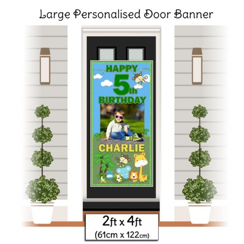 Personalised Happy Birthday Door PHOTO Banner Poster ~ Jungle Animals N4